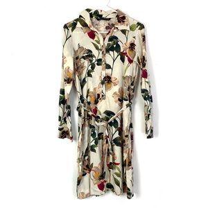 2/$20 Zara Floral Button Down Tie Waist Dress